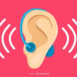Oreja con audífono-sordo o hipoacusia