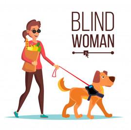 Mujer ciega y perro guía