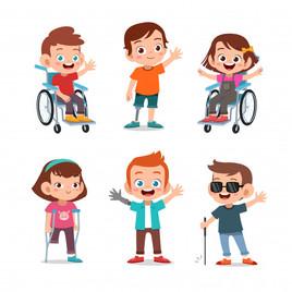 Niños con discapacidad saludan sonrientes.jpg