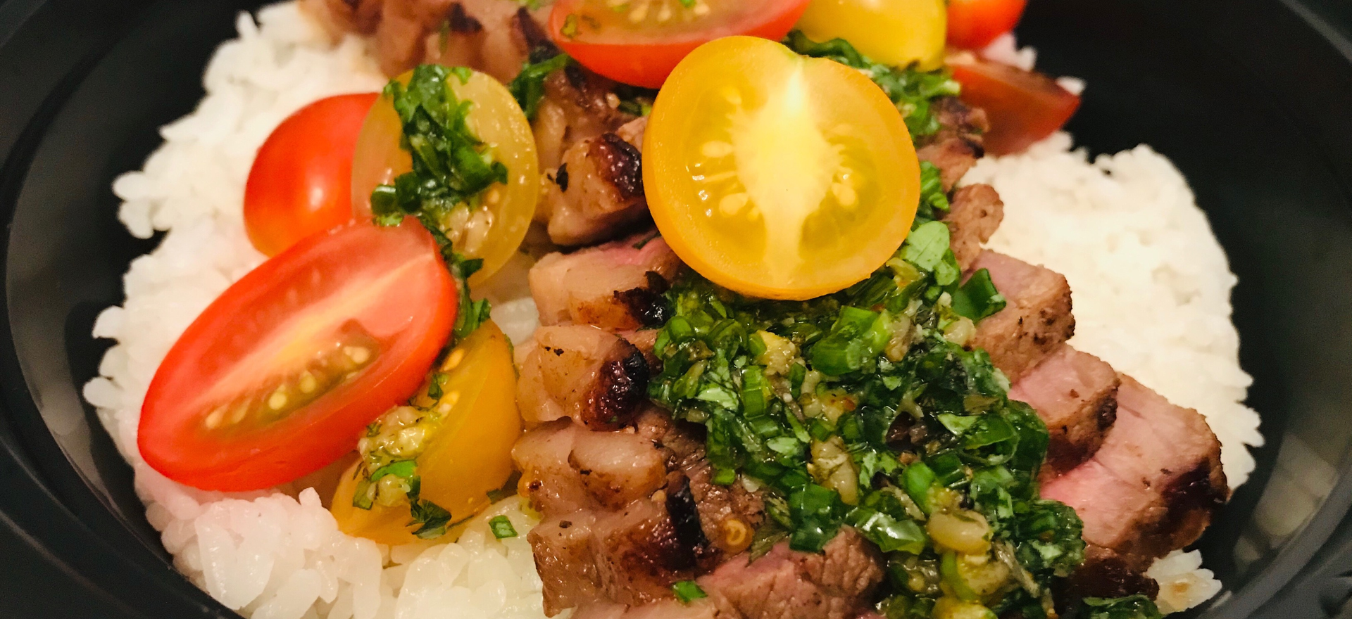 Grilled Steak w/ smoked negi chimichurri