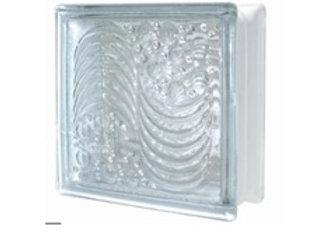 """(B)บล็อกแก้วช้างแก้วN-013แก้วคลื่นทะเล (Ocean Wave)ขนาด190x190x80mm (3"""")"""