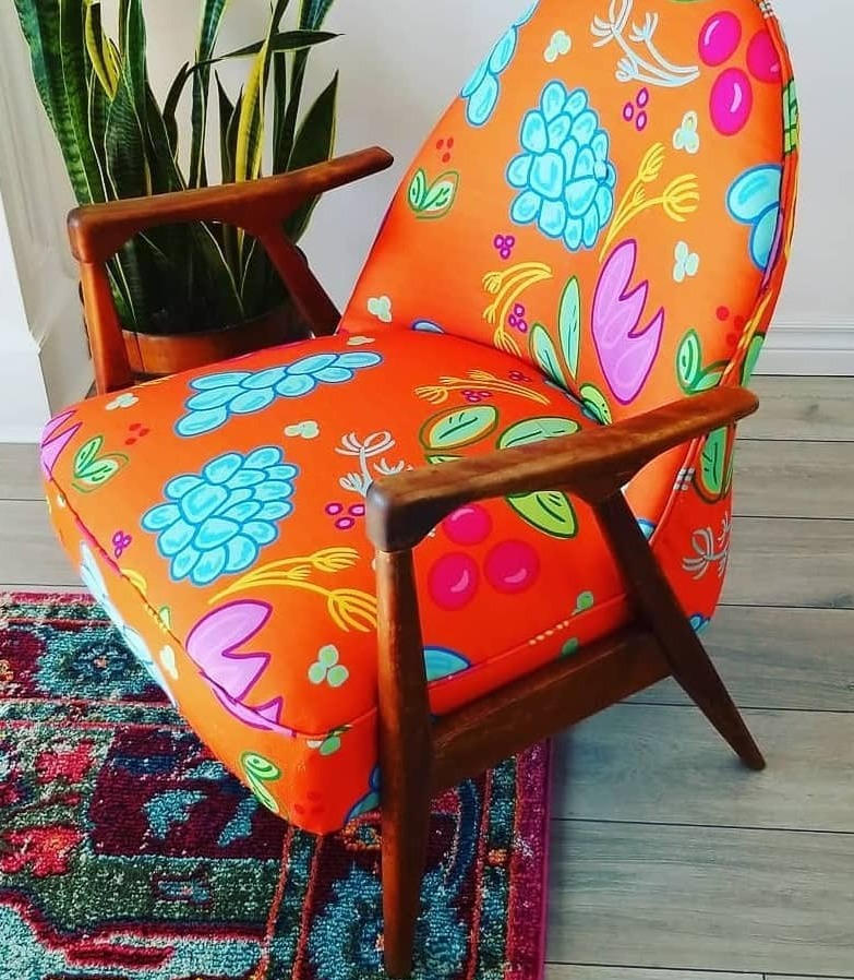 Retro chair with custom fabric