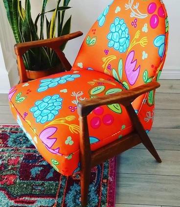 Retro chair with custom fabric