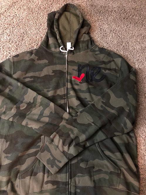 Hooded Camo Black NE Zip Sweatshirt