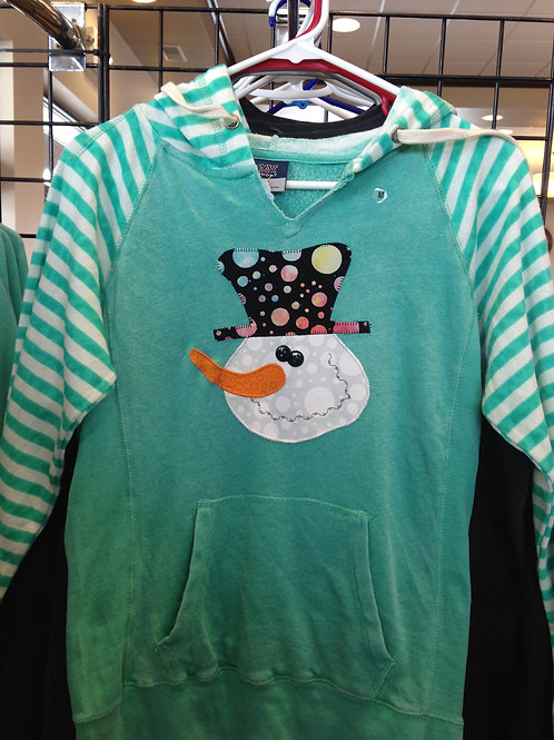 Snowman Striped Sleeve Sweatshirt with Pocket