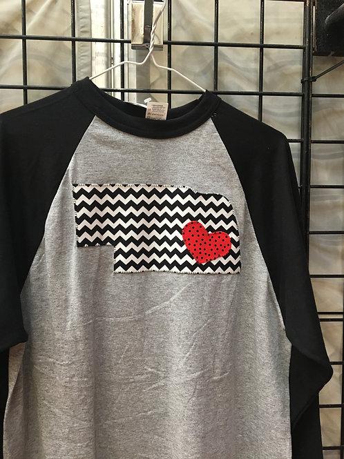 Black and Gray Nebraska with Heart