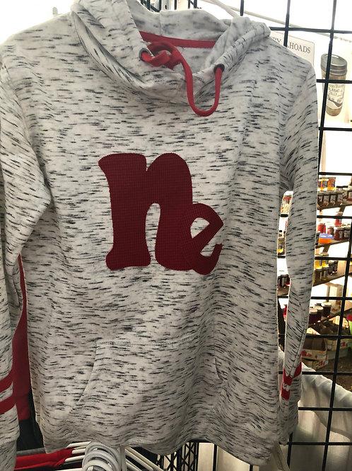 NE Maroon fleece striped-sleeves