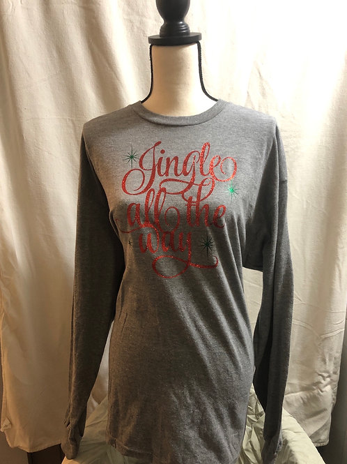 Jingle All The Way Long Sleeve Gray Tee