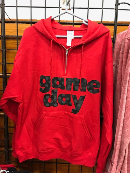 Red Hooded Game Day 1/4 Zip Sweatshirt