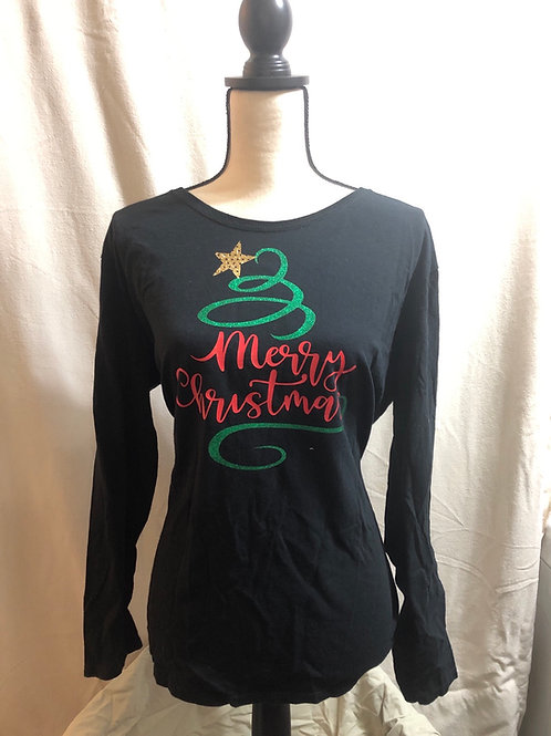 Merry X-Mas Black Long Sleeve Tee