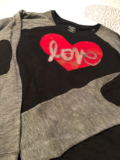 Patch Sleeve T-Shirt with Love