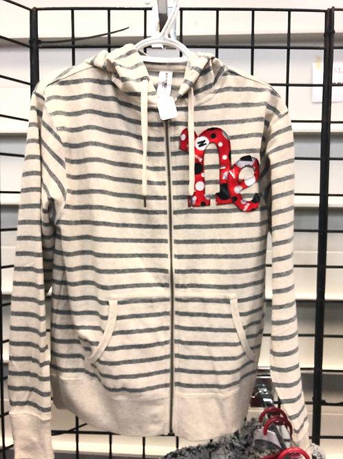 Oatmeal/ charcoal zip hooded sweatshirt Ne frontdesign