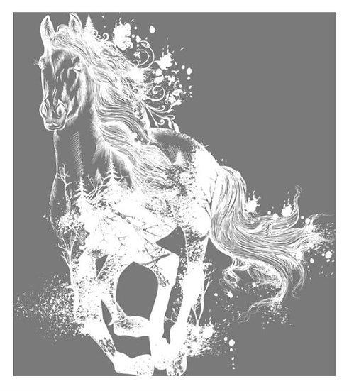 Majestic Horse White Hokus Pokus Image Transfer
