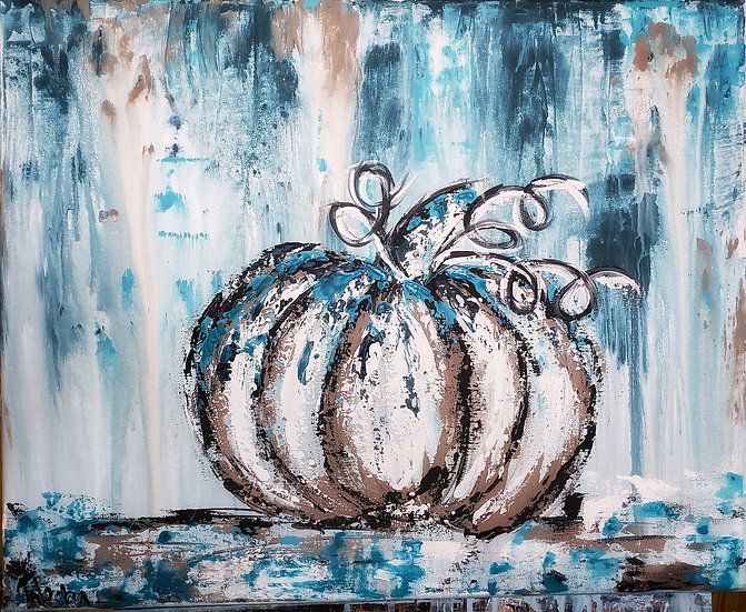 Abstract Fall Pumpkin Canvas