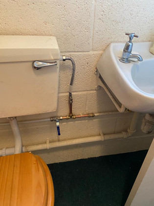 Repair of cold water feed to toilet