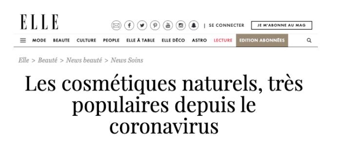 ELLE Magazine: Natural Cosmetics Gain Popularity Since Covid-19