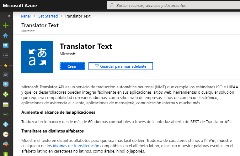 MS Translator API