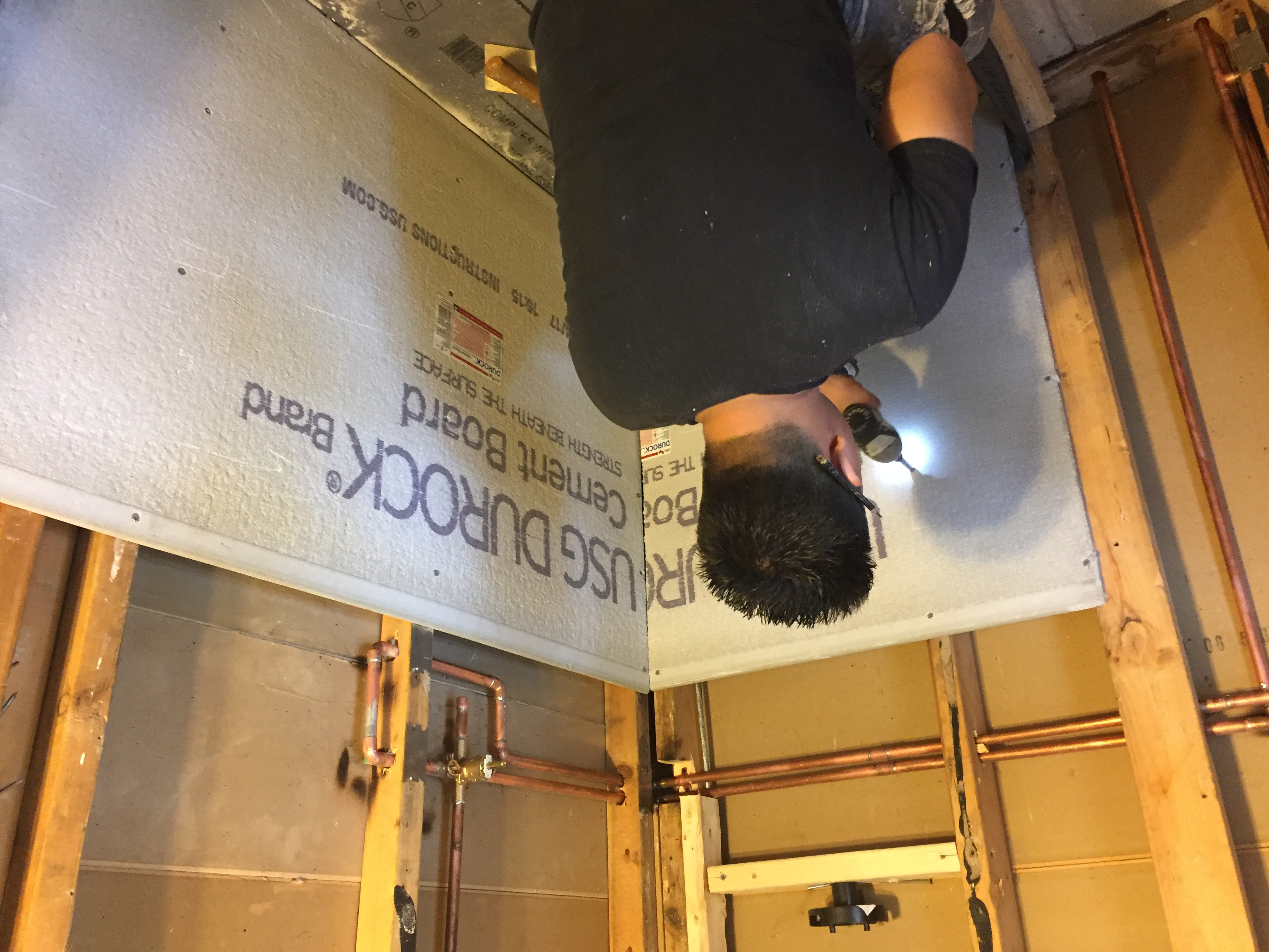 McLean Bath Pic- installing durock in shower