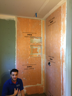 McLean Bath Remodel 6- waterproofed shower walls, using Kerdi membrane, with niches