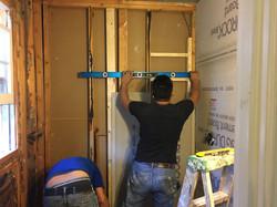 McLean Bath Remodel 6- installing wall durock