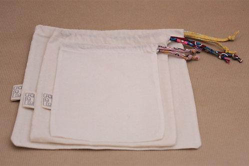 sac à vrac, zéro déchets, couture fait main, tissu oeko-tex