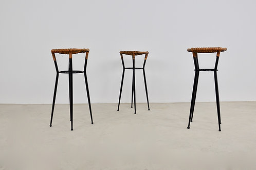 Round Rattan Barstool from Rohé Noordwolde, 1960s