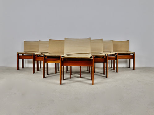 Monk Dinning Chairs by Afra & Tobia Scarpa for Molteni, 1970S