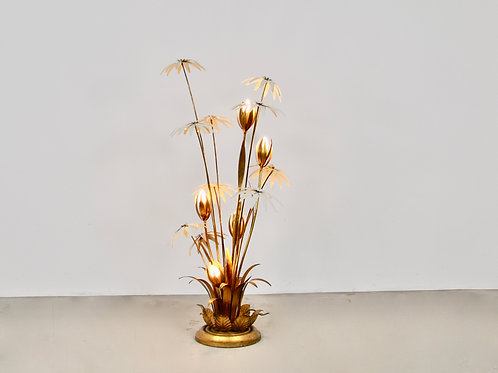 Floral Gilded Floor Lamp by Hans Kögl, 1970s