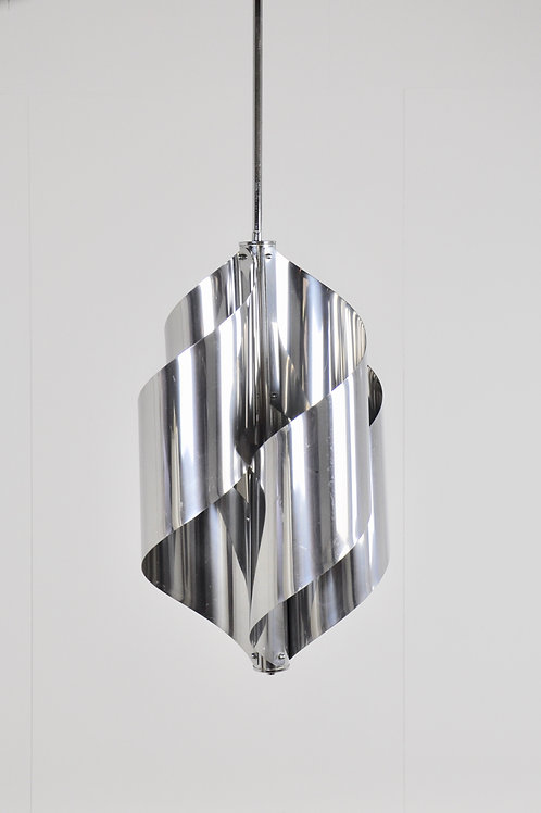 Brushed steel  Hanging Lamp By Goffredo Reggiani  1970S