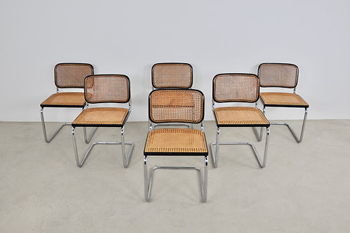 Gavina Dinning chairs by Marcel Breuer 1980S Set6