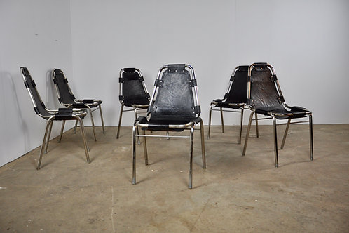 Set of 6 Chrome & Leather Chairs, 1970s