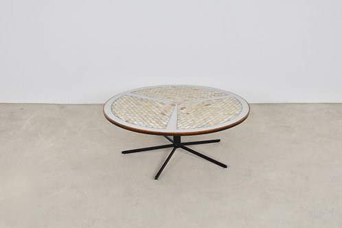 coffee table inlaid with marble and brushed metal 1970S