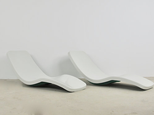 White Eurolax Club Med Deck Chairs by Charles Zublena, 1960s