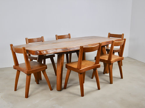 Elm dining table and six elm chairs 1960S