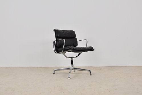 Black Leather Soft Pad Chair by Charles & Ray Eames for Herman Miller 1970S