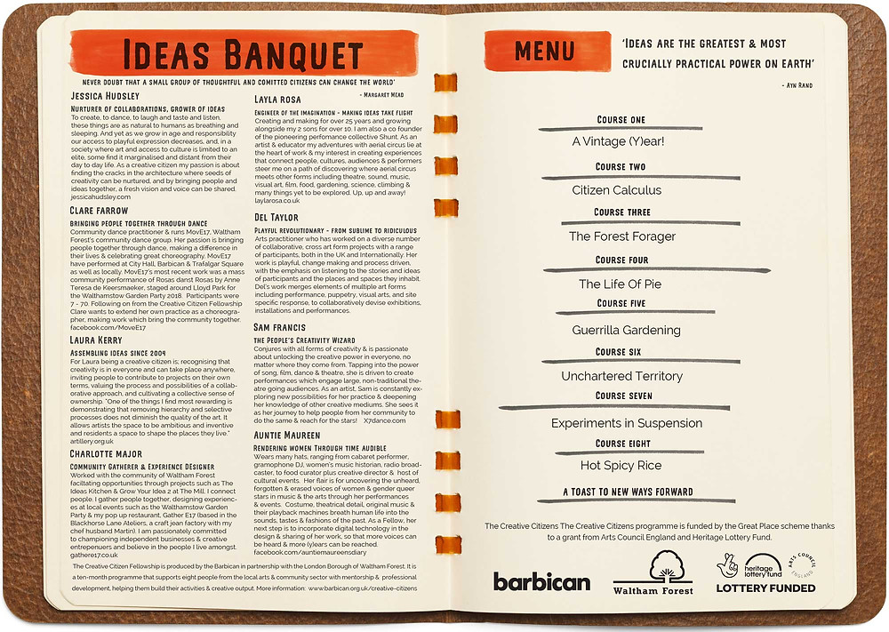 The Change Collective Ideas Banquet menu