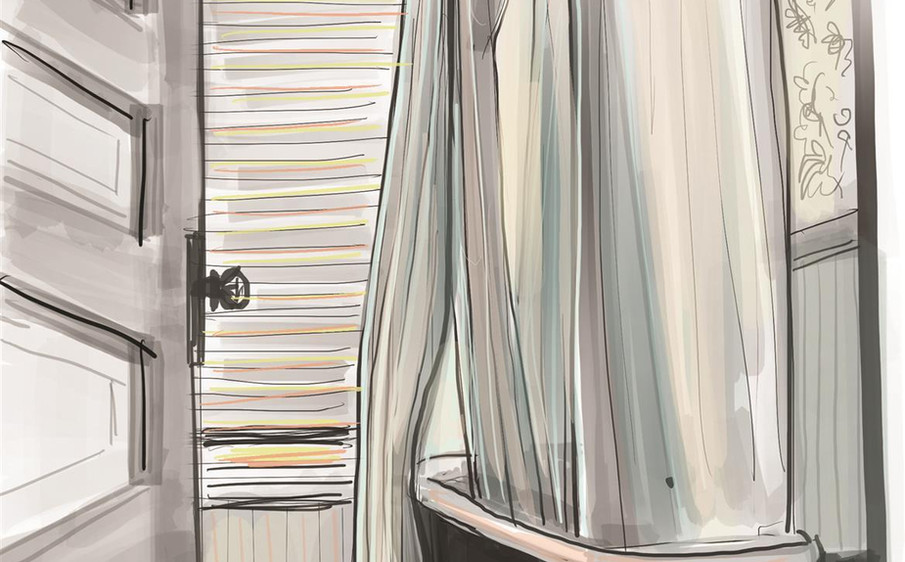 Sunny morning in a checkered bath by Lydia Mann