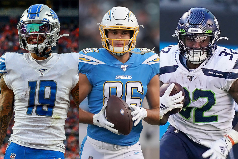Kenny Golladay, Hunter Henry, and Chris Carson