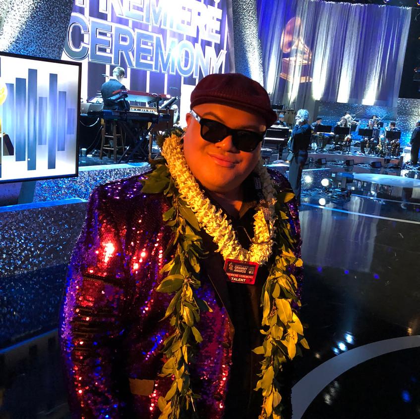 Kalani Pe'a on stage at Grammys