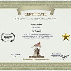 UN NUEVO ADIÓS Certificado.