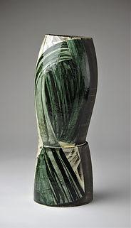 1. Oval plinth vessel h45cm black earthe