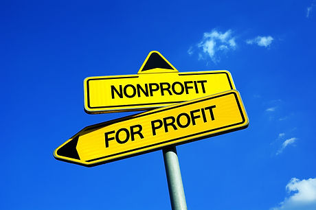 Nonprofit vs For Profit - Traffic sign w