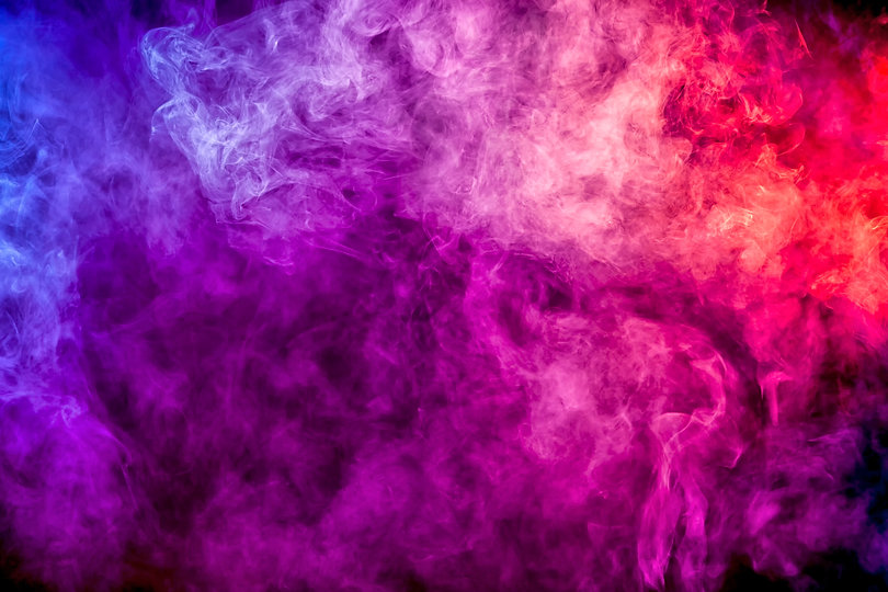 Thick colorful smoke of purple, pink, re