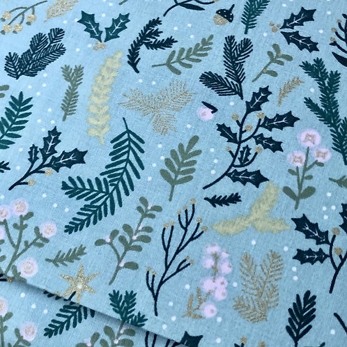 Winter Branches With Gold on Turquoise for Rico Design