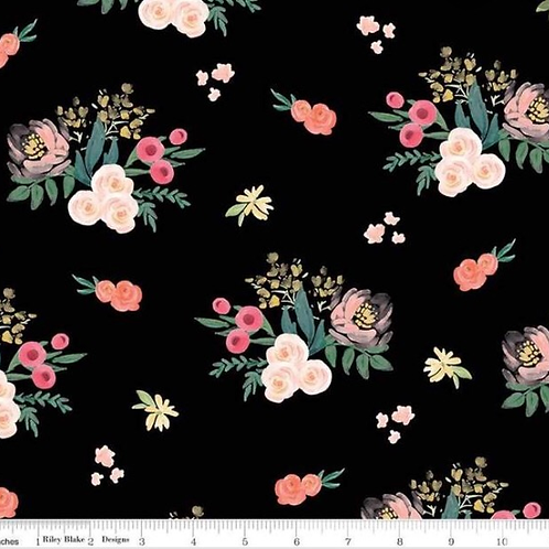 Flower Market Main in Black for Riley Blake Designs