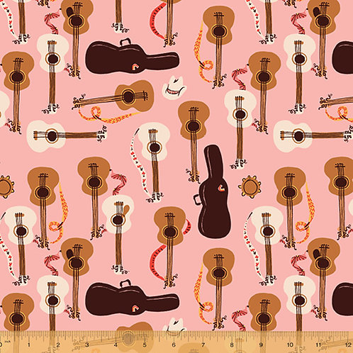 PRE-ORDER Guitars on Pink from Far Far Away 3 by Heather Ross for Windham Fabric