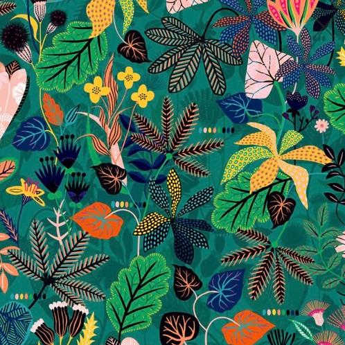 Gardenia Rainforest on Green Rayon for Dashwood Studioa