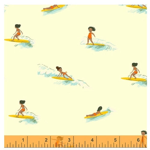 Tiny Surfers, cream from Malibu by Heather Ross