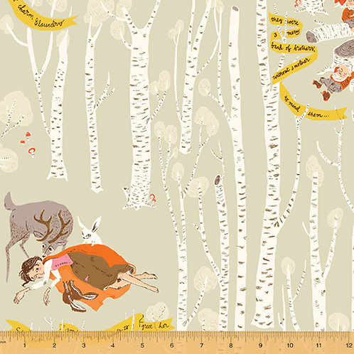 PRE-ORDER Snow White On Grey from Far Far Away 3 by Heather Ross for Windham