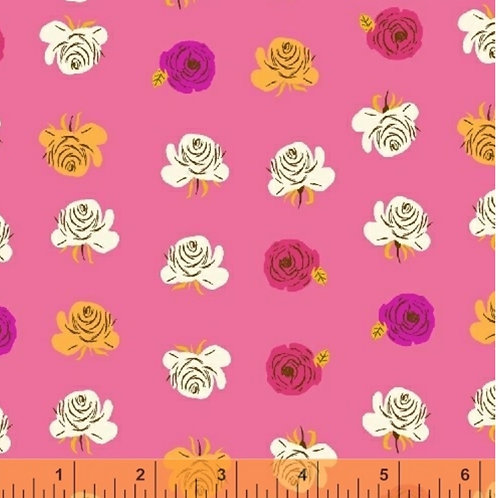 Flowers on Pink, Far Far Away 2 by Heather Ross for Windham Fabrics